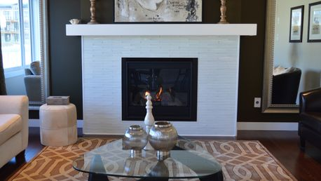 A fireplace installed by our talented team